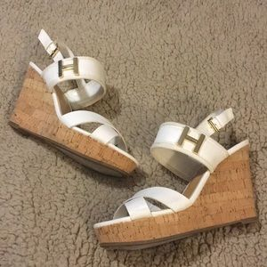 Tommy Hilfiger white and cork wedges